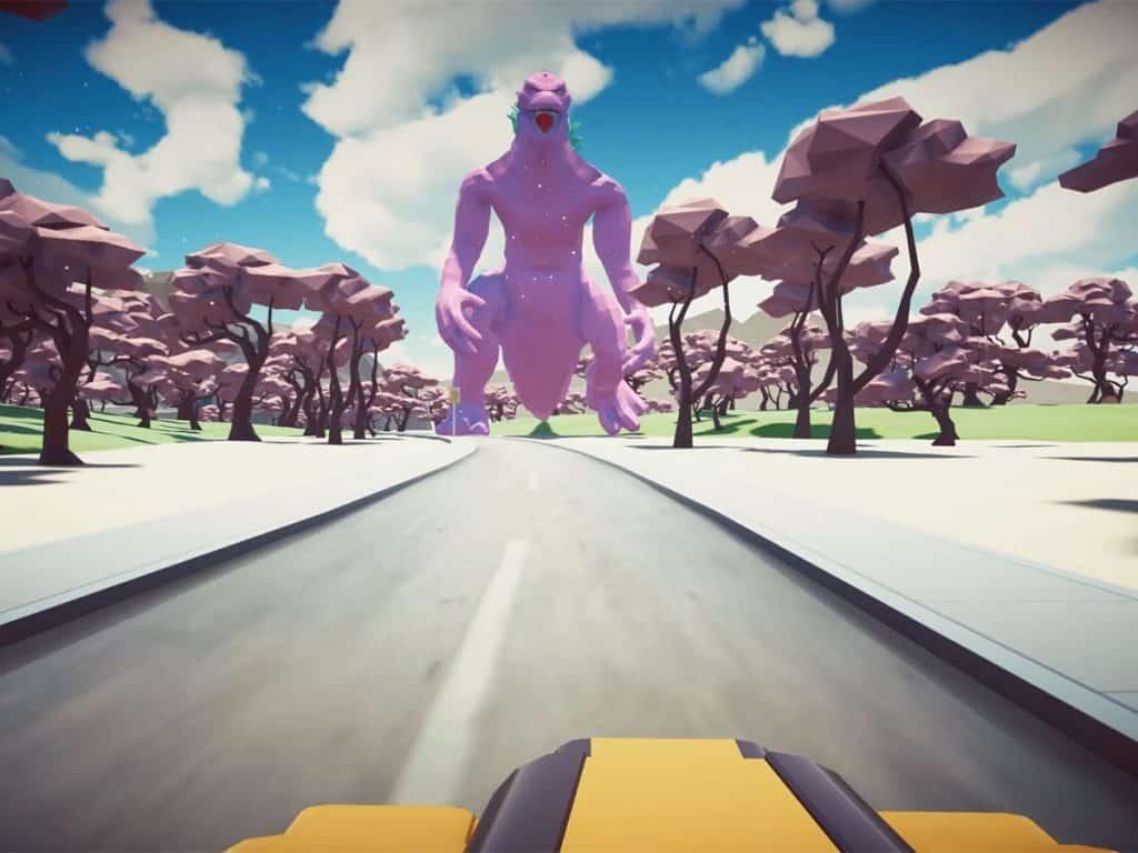 Man sieht eine animierte Landschaft links und rechts sind pinke Bäume. Man fährt auf einer Straße direkt auf Godzzila zu
