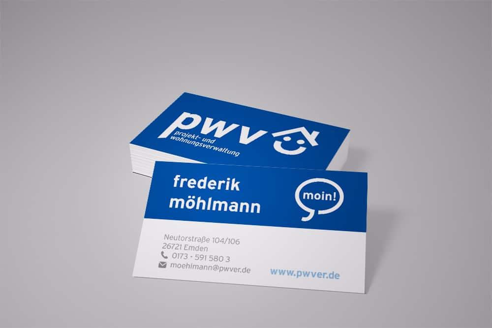 Visitenkarten der Firma PWV