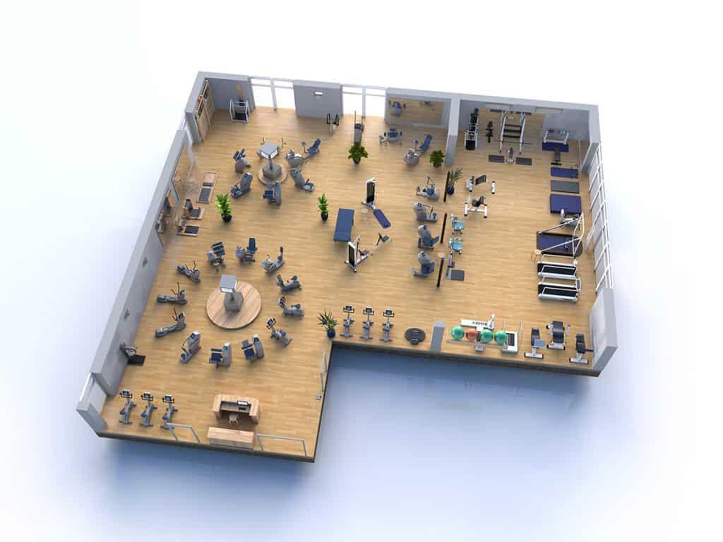 Man sieht ein 3D animiertes Bild der Fitnessräume von der Firma Schubert