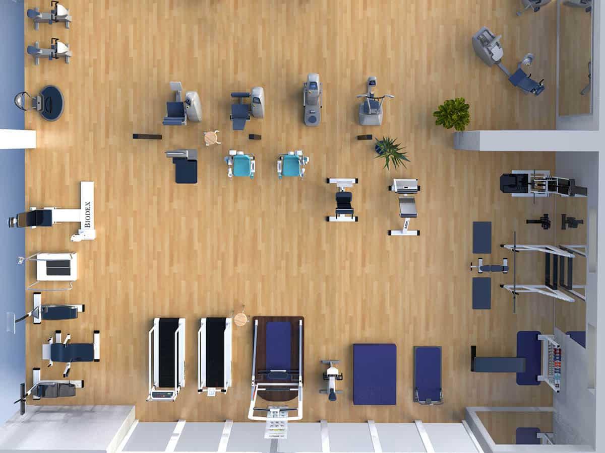 Man sieht ein 3D animiertes Bild eines Fitnessraums von der Firma Schubert