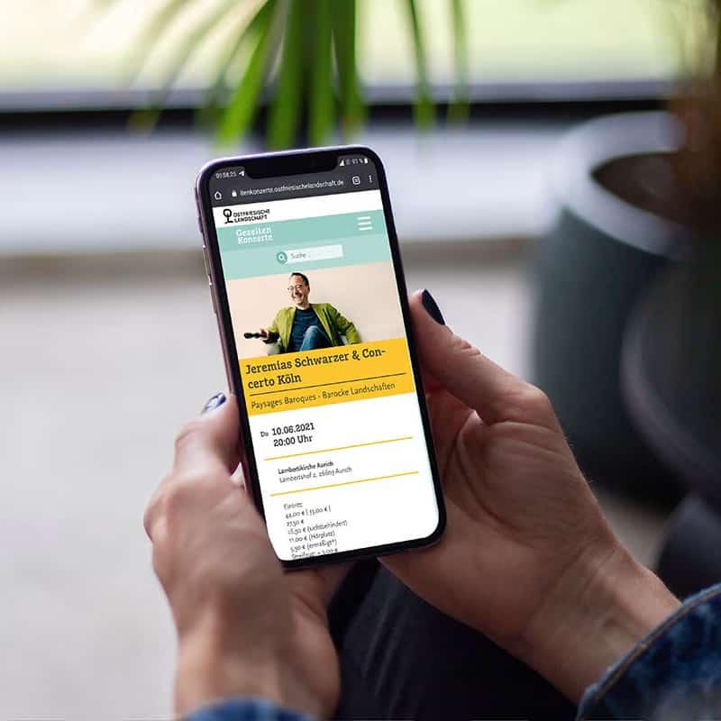 Gezeitenkonzerte Webseite responsive auf Smartphone